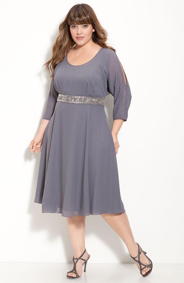 Летнее платье из шифона для полных женщин